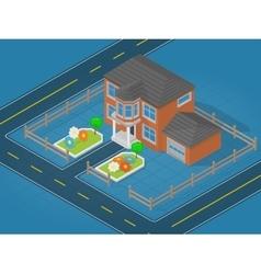 Isometric scene representing modern house vector
