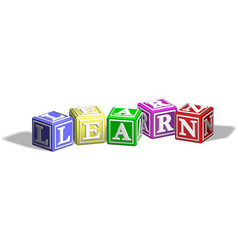 learn alphabet blocks vector image vector image