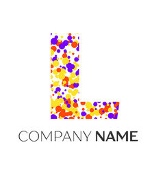 Letter l logo with purple yellow red particles vector
