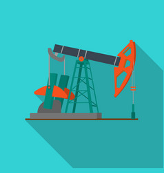 Oil pumpjack icon in flat style isolated on white vector