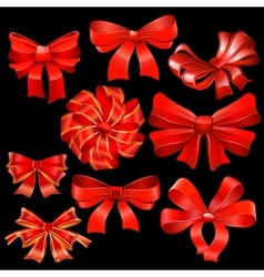 Red bow set vector image vector image