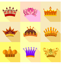 Royal crown icons set flat style vector