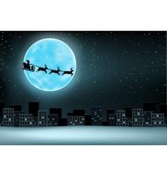 Santa flying moon city vector