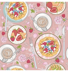 Seamless breakfast wafle pattern vector image vector image