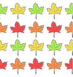 seamless pattern with rows of cute maple leaves vector image vector image