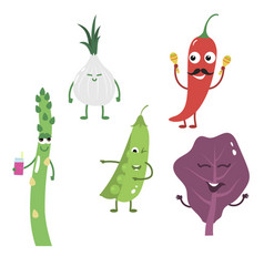set of funny characters from vegetables 3 vector image vector image