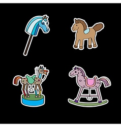 Stickers with horses vector