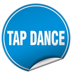 Tap dance round blue sticker isolated on white vector