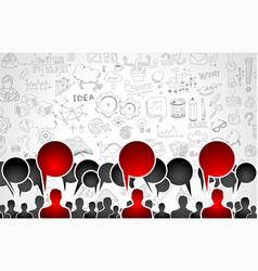 Team app development concept with business doodle vector
