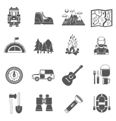 Tourism Icons Black vector image vector image