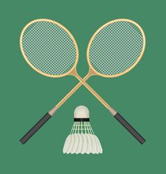 two crossed badminton rackets and white vector image vector image