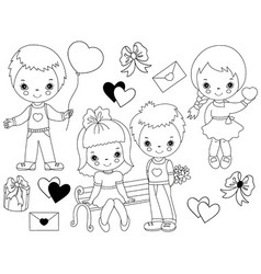 Valentines day kids set vector