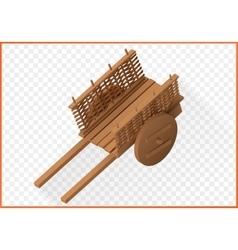 wooden wheelbarrow isometric 3d vector image