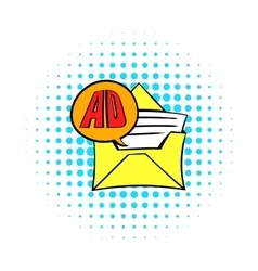 Yellow envelope with card for advertising icon vector image