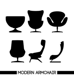 Black modern armchair set in outlines over white b vector