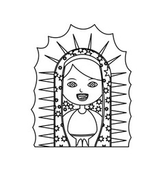 monochrome contour of half canvas of virgin of vector image