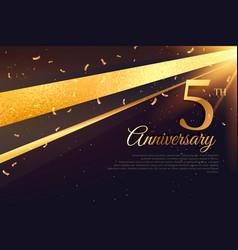 5th anniversary celebration card template vector