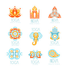 Yoga studio labels set stylized famous spiritual vector