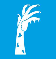 Zombie hand icon white vector