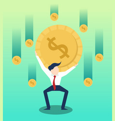 carrying money businessman with business growth vector image