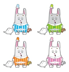 Sleepy bunny pajamas vector