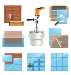 Laying tiles icons vector