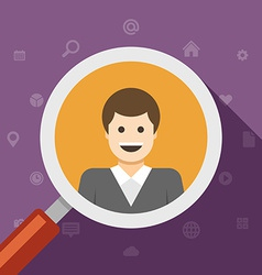 Magnifying glass zoom business man vector