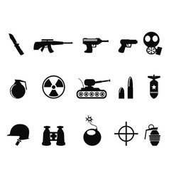 Black military and army icons set vector