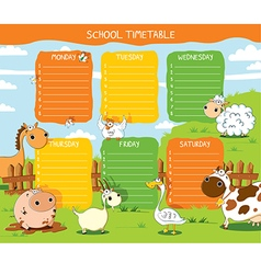 School timetable farm vector