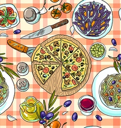 Beautiful hand-draw simpless pattern italian food vector