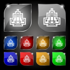 Skyscraper icon sign set of ten colorful buttons vector