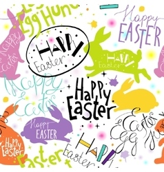 Easter pattern with lettering and bunnies vector