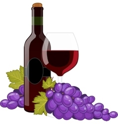 Red wine bottle and wineglass vector