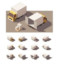 isometric box truck icon set vector image
