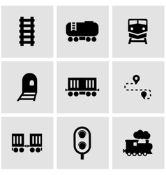 black railroad icon set vector image
