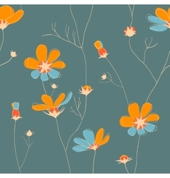 Wild chamomile seamless pattern vector