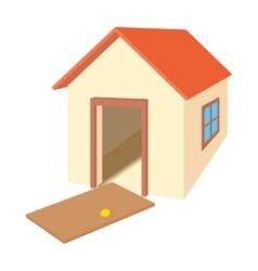 Broken door house icon cartoon style vector