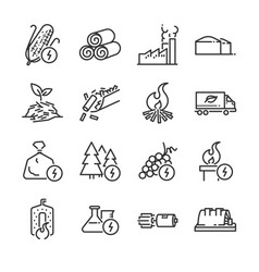 Biomass line icon set vector