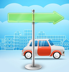 Blank glass arrow board City trafic Template for vector image vector image