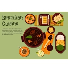 Brazilian dinner with feijoada stew flat icon vector