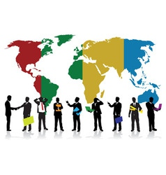 business people on a world background vector image