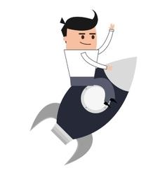 businessman on rocket icon vector image