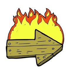 Comic cartoon burning direction arrow vector