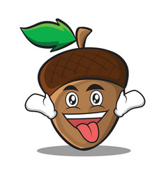 Crazy acorn cartoon character style vector