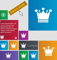 Crown icon sign metro style buttons modern vector