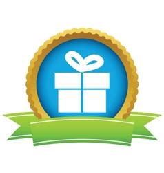 Gold gift logo vector