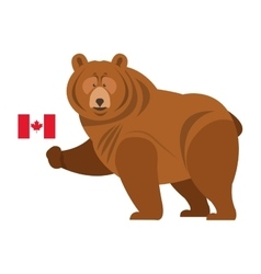 Grizzly beare with canadian flag icon vector