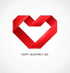 Heart Ribbon Origami Logo vector image vector image