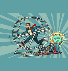 hipster businessman produces electricity power vector image vector image