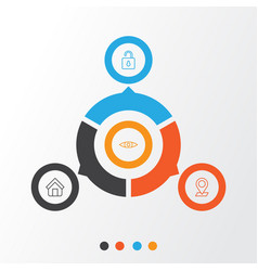 Internet icons set collection of pinpoint estate vector